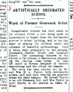 Article in Greenock Telegraph 9 September 1927