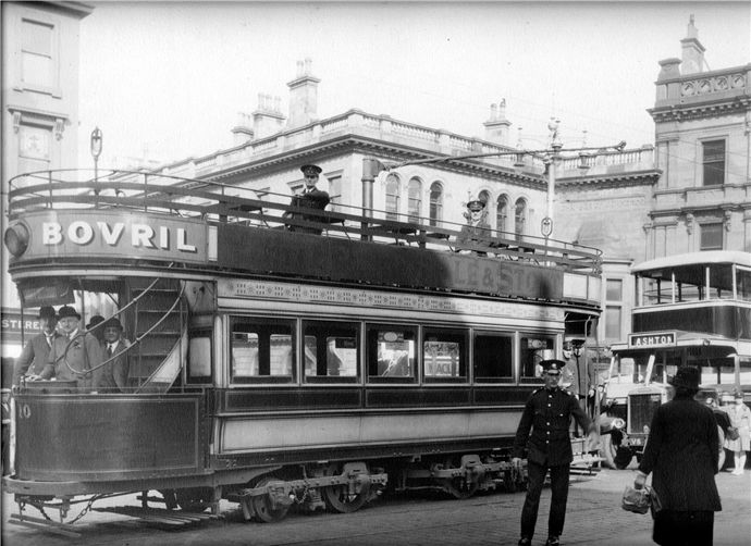 Last tram in Greenock departing from Cathcart Square, 1929