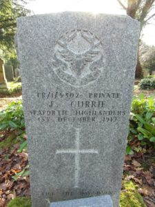 James Currie, Private Seaforth Highlanders, died of illness 1 December 1917. This is a Commonwealth Commission War Grave