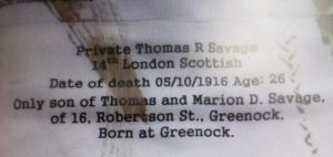 Thomas' name on the tapestry